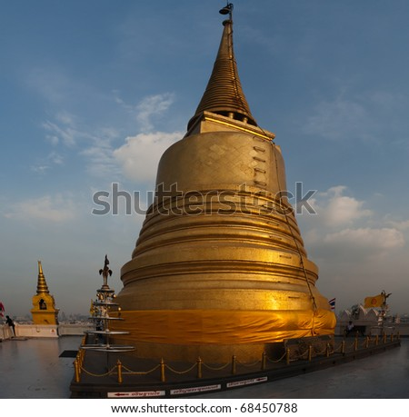 Golden Mount and Wat Saket. You can see all Bangkok from Golden Mount. Located in Ratchadamnoen Avenue - stock photo