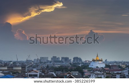 Golden mountain the grand vintage pagoda in downtown of bangkok thailand with dramatic sky