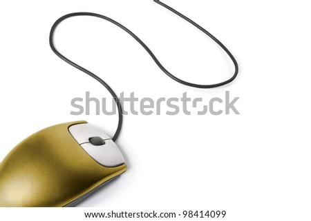 Golden mouse on white background