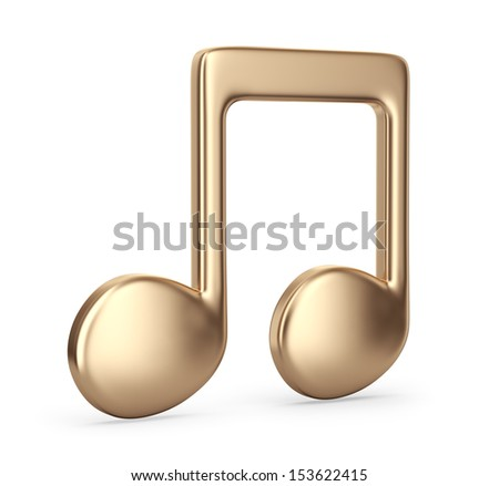 Golden music note. 3D Icon isolated on white background - stock photo