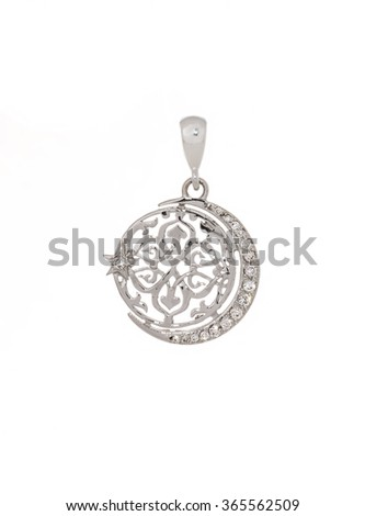 Golden Muslim pendant isolated on white - stock photo
