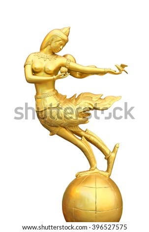 Golden Mythical female bird with a human head on globe isolated on white background - stock photo