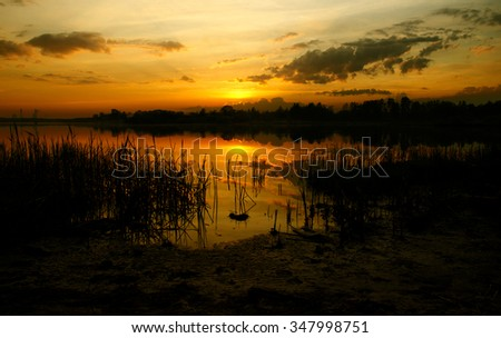golden nature reserve, sunset view from the shore