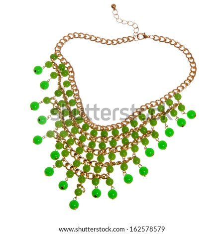 golden necklace with green beads isolated on white background  - stock photo