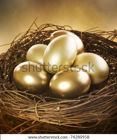 Golden Nest Eggs - stock photo