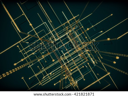 Golden network connection lines with sphere on the top. 3d illustration - stock photo