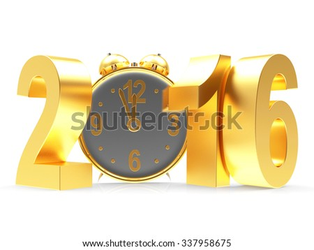 Golden New Year 2016 and clock isolated on white background  - stock photo