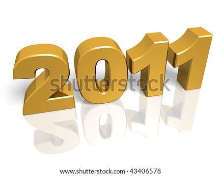 Golden New year 2011. 3d render. Very High resolution - stock photo
