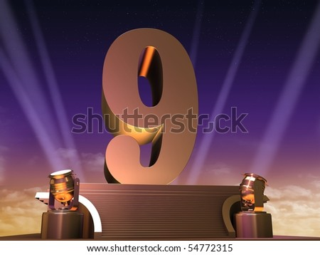 golden nine - stock photo