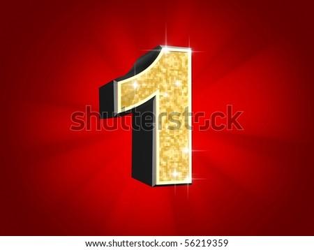 golden number - 1 - stock photo