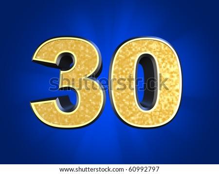 golden number 30 - stock photo