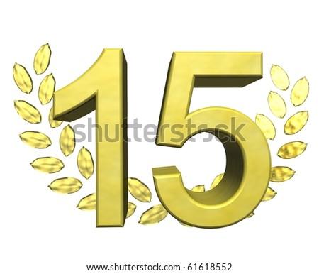 golden number fifteen - stock photo