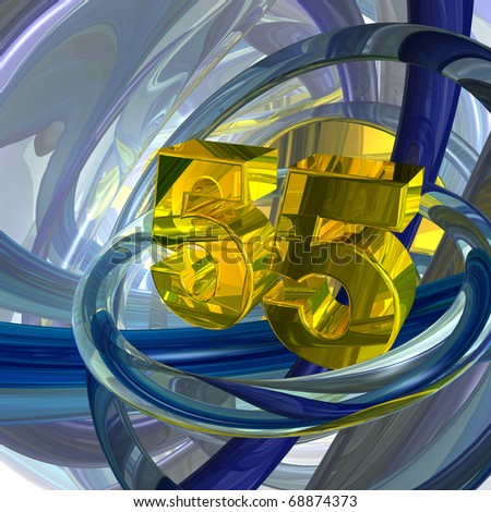 golden number fifty five in techno space - 3d illustration