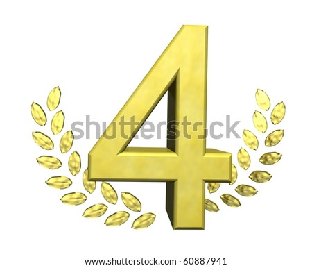 golden number four - stock photo