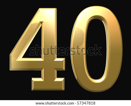 Golden number isolated on black background - stock photo