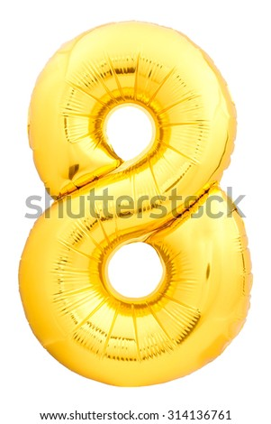 Golden number 8 made of inflatable balloon isolated on white background. One of full number set - stock photo