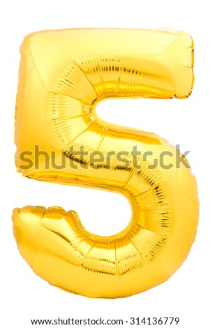 Golden number 5 made of inflatable balloon isolated on white background. One of full number set - stock photo