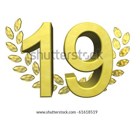 golden number nineteen - stock photo