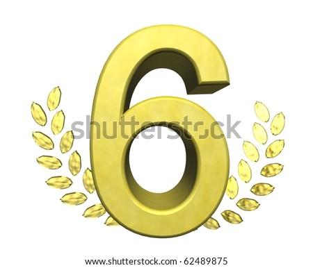 golden number six - stock photo