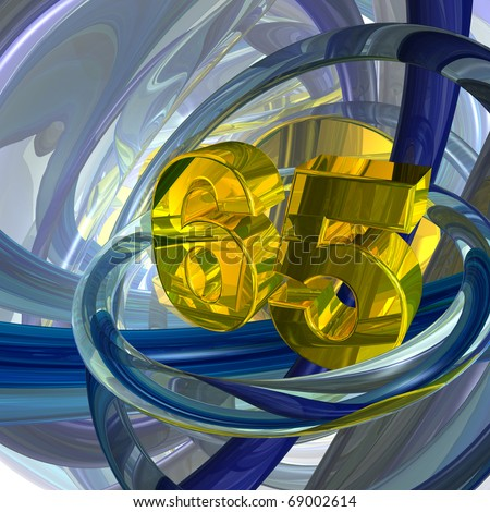 golden number sixty five in techno space - 3d illustration