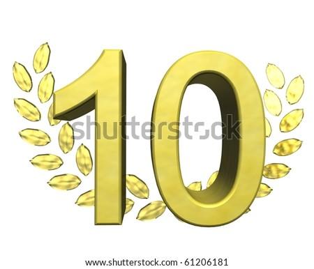 golden number ten - stock photo