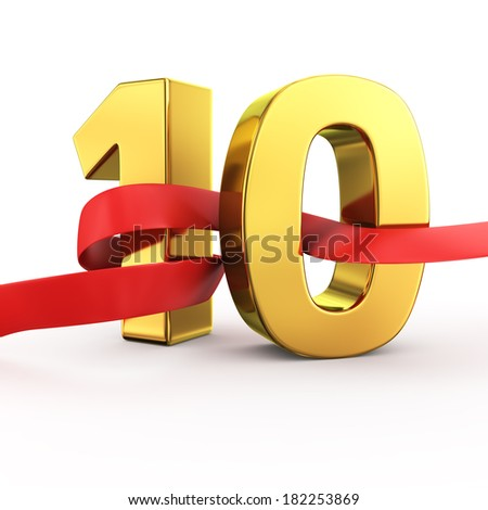 Golden number ten with red fluttering fabric - stock photo