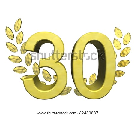 golden number thirty - stock photo