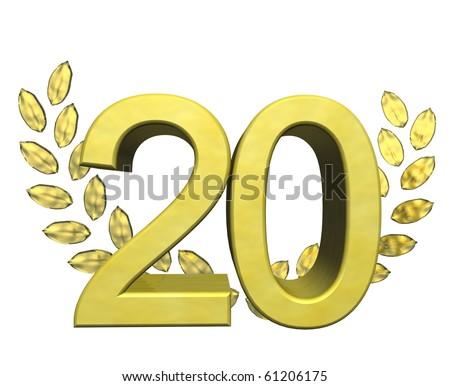 golden number twenty - stock photo