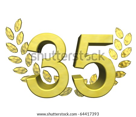 golden number 35 with laurel wreath