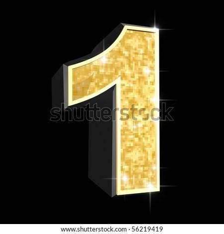 golden numbers - 1 - stock photo