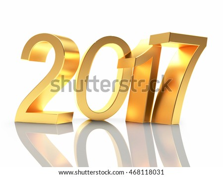 Golden numbers 2017 New Year with reflection on white background. 3D illustration