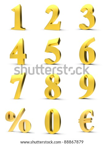 Golden numbers with euro and percent symbol - stock photo