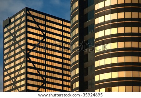 Golden Office Buildings - stock photo