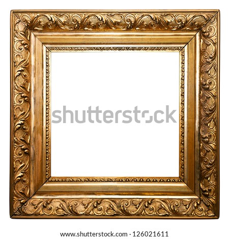 Golden Old Frame isolated (clipping paths included) - stock photo
