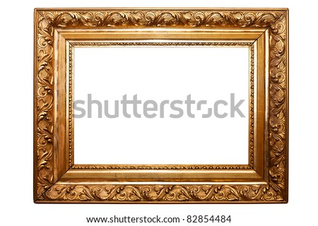golden old frame isolated on white (clipping paths included) - stock photo