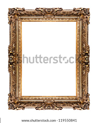 golden old frame isolated on white, No 26  (clipping paths included) - stock photo