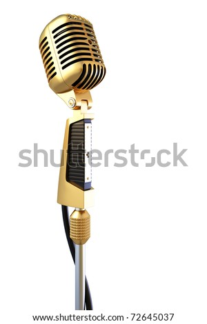 golden old professional microphone. isolated on white.