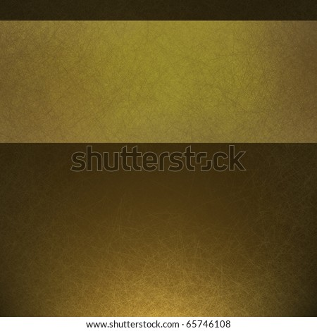golden olive green background paper with copy space of contrasting ribbon of lighter color for graphic art layout design, fine elegant grunge texture and highlight with darkened burnt edges - stock photo