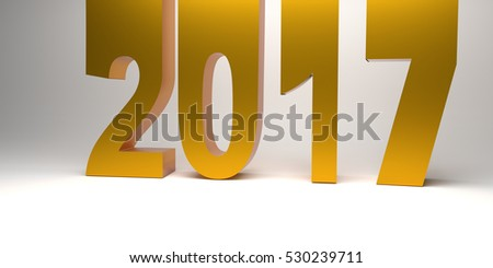 Golden 2017 on a gray background, 3d rendering