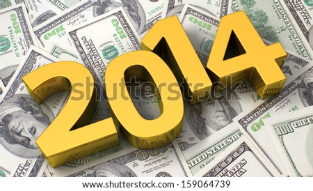 Golden 2014 on the background of one hundred dollar bills