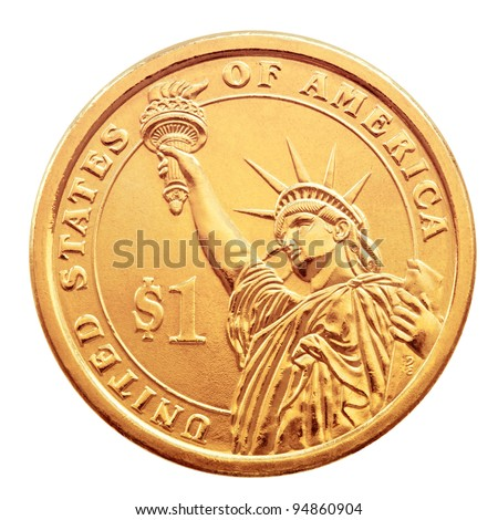 Golden one dollar coin, isolated on the white background. - stock photo