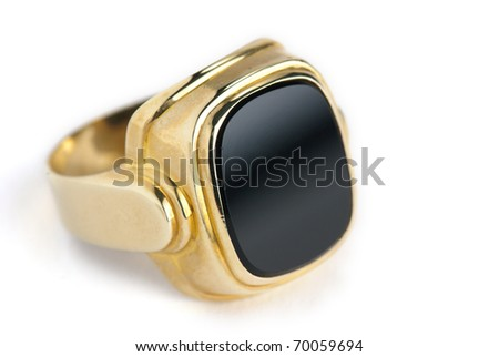 golden onyx ring isolated against a white background - stock photo