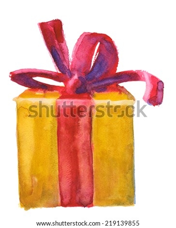 golden or yellow gift box with red bow, watercolor illustration - stock photo