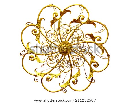 golden Ornament, Mandala style with center point - stock photo