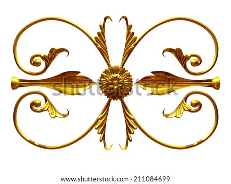 golden Ornament, you can use this single element to create a frieze - stock photo