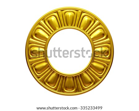 golden,ornamental and circle frame - stock photo