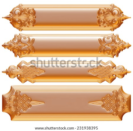 golden ornamental background with metal label - stock photo