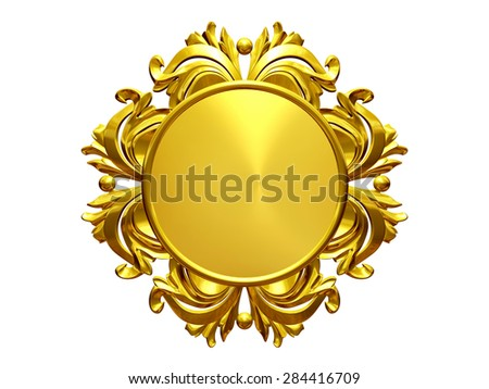 golden, ornamental, circle plate or frame - stock photo