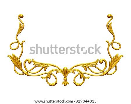 golden, ornamental frame emblem - stock photo