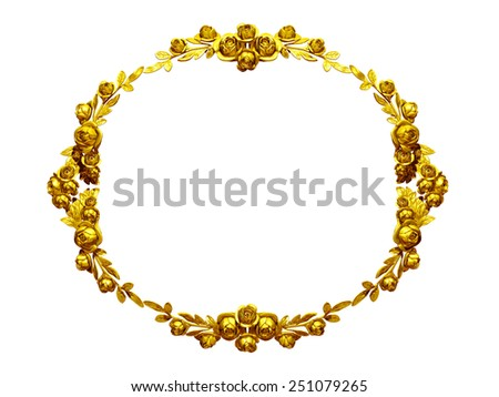 golden ornamental frame with roses - stock photo